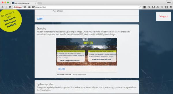 Personnalisation de la page d'accueil de la PULSE BOX dans la console d'administration